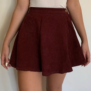 AMERICAN APPAREL Maroon Corduroy Circle Skirt